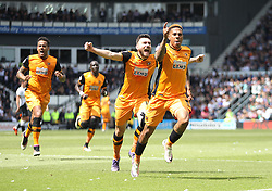 Abel Hernandez of Hull City (R) celebrates scoring his sides first goal - Mandatory by-line: Jack Phillips/JMP - 14/05/2016 - FOOTBALL - iPro Stadium - Derby, England - Derby County v Hull City - Sky Bet Championship Play-Off Semi-Final First-Leg