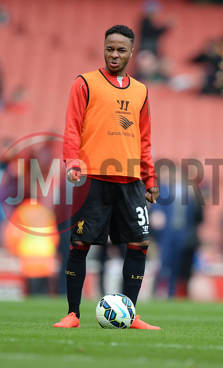 caption correction *Raheem Sterling of Liverpool pulls a face while warming up. - Photo mandatory by-line: Alex James/JMP - Mobile: 07966 386802 - 04/04/2015 - SPORT - Football - London - Emirates Stadium - Arsenal v Liverpool - Barclays Premier League