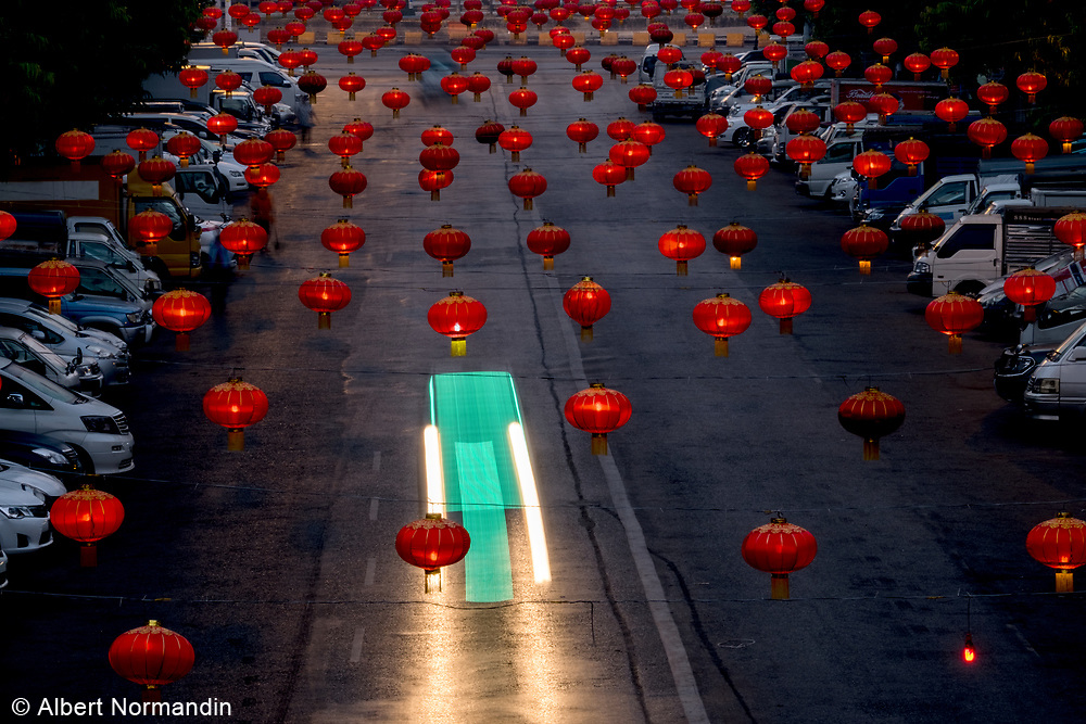 Chinese New Year Lanterns in streets of Yangon, Rangoon, Myanmar