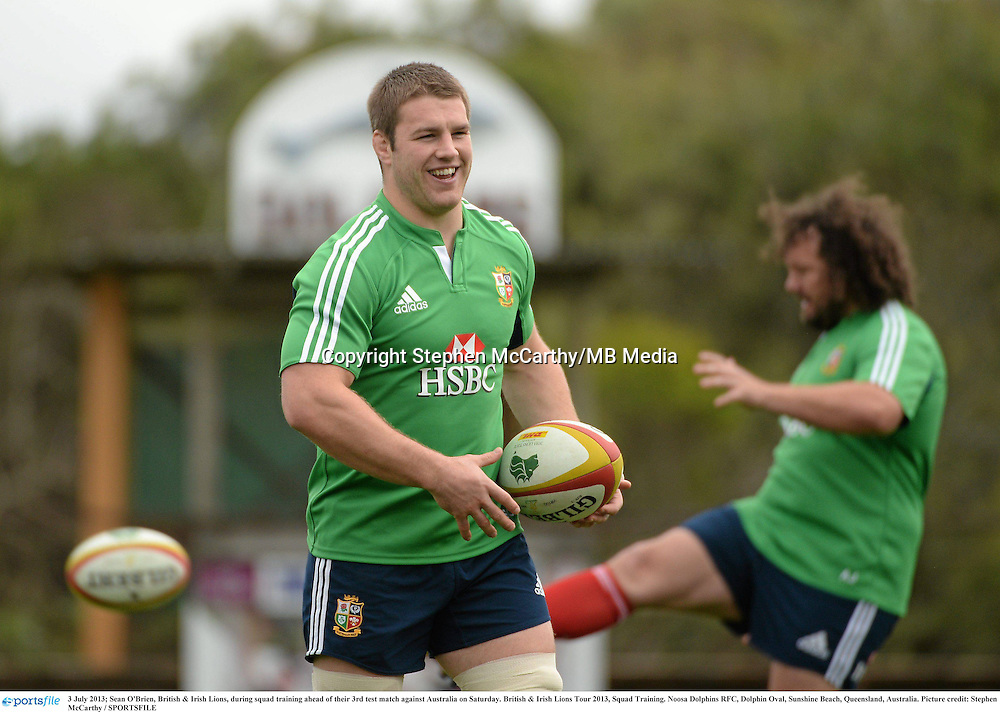 3 July 2013; Sean O'Brien, British & Irish Lions, during squad training ahead of their 3rd test match against Australia on Saturday. British & Irish Lions Tour 2013, Squad Training. Noosa Dolphins RFC, Dolphin Oval, Sunshine Beach, Queensland, Australia. Picture credit: Stephen McCarthy / SPORTSFILE