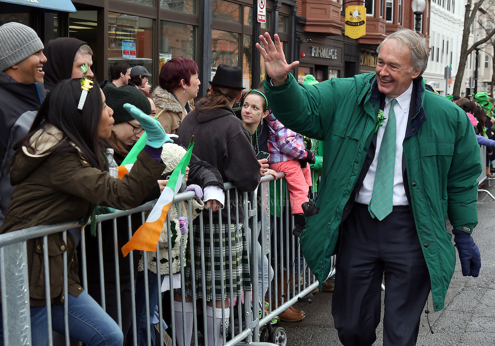 (Boston, MA - 3/15/15) U.S. Sen. Ed Markey greets the crowd during the St. Patrick's Day Parade in South Boston, Sunday, March 15, 2015. Staff photo by Angela Rowlings.
