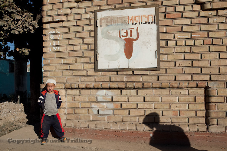 A sign for meat in three languages. Someone has crossed out the Uzbek, leaving only Russian and Kyrgyz. Kyzyl-Kyshtak neighborhood, Osh. September 15, 2010.