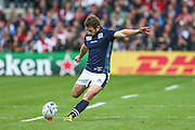 Scotland's captain Greig Laidlaw with a penalty during the Rugby World Cup Pool B match between Scotland and Japan at the Kingsholm Stadium, Gloucester, United Kingdom on 23 September 2015. Photo by Shane Healey.