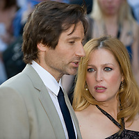 """London, Leicester Square  July 30th  Gillian Aderson  and David Duchovny arrive  at the uk film premiere of """"The X Files I want to believe"""" at the Empire Cinema in Leicester Square"""