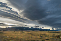 Storm clouds over Ear Mountain, Rocky Mountain front ranges near Choteau Montana