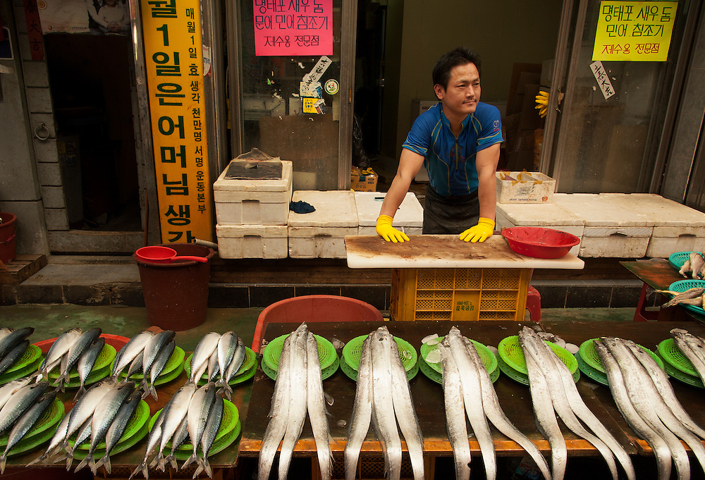 A fish vendor at Gupo Market, Busan, South Korea, May 24, 2013.