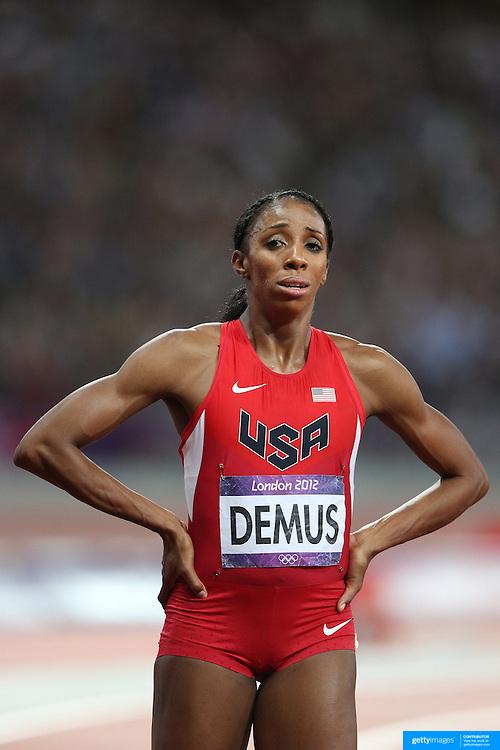 Lashinda Demus, USA, Silver Medal winner during the Women's 400m Hurdles Final at the Olympic Stadium, Olympic Park, during the London 2012 Olympic games. London, UK. 8th August 2012. Photo Tim Clayton