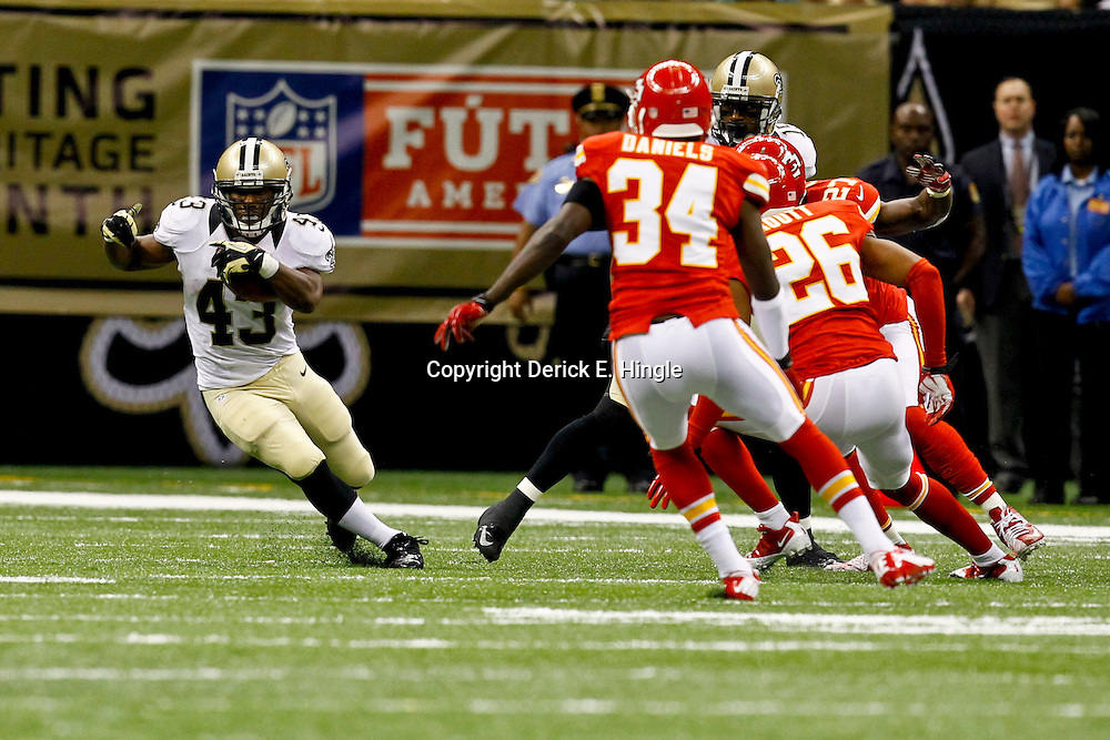 September 23, 2012; New Orleans, LA, USA; New Orleans Saints running back Darren Sproles (43) runs against the Kansas City Chiefs during the second half of a game at the Mercedes-Benz Superdome. The Chiefs defeated the Saints 27-24 in overtime. Mandatory Credit: Derick E. Hingle-US PRESSWIRE