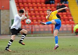 Bristol Rovers' Tom Parkes gets a shot away - Photo mandatory by-line: Neil Brookman/JMP - Mobile: 07966 386802 - 28/02/2015 - SPORT - Football - Gateshead - Gateshead International Stadium - Gateshead v Bristol Rovers - Vanarama Football Conference