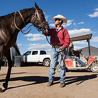 USA, New Mexico, Albuquerque, Trainer holds reins of thoroughbred horse outside paddock before start of races at The Downs at Albuquerque race track