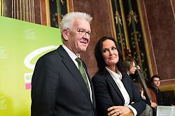 17.10.2016, Parlament, Wien, AUT, Grüne, Festveranstaltung anlässlich 30 Jahre Grüne im Parlament. im Bild v.l.n.r. Ministerpräsidente von Baden-Württemberg Winfried Kretschmann und Grüne Klubobfrau Eva Glawischnig // f.l.t.r. german politician of the greens Winfried Kreschmann and Leader of the parliamentary group the greens Eva Glawischnig<br />  during ceremony due to 30 years of the green party in the austrian parliament in Vienna, Austria on 2016/10/17. EXPA Pictures © 2016, PhotoCredit: EXPA/ Michael Gruber