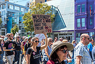 """San Francisco, USA. 26th August, 2017, the No Hate rally and protest march in San Francisco. The group gathered at Harvey Milk Plaza in San Francisco's Castro district for a rally before marching down Market Street to San Francisco City Hall. Originally planned as one of several counter protests to a previously planned demonstration by right wing group """"Patriot Prayer,"""" the counter protests in San Francisco still saw large turnouts in a show of support though the Patriot Prayer event was canceled the evening prior. Credit: Shelly Rivoli/Alamy Live News"""