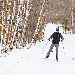 A man cross country skiing at Loon Echo Land Trust's Bald Pate Mountain Preserve in South Bridgton, Maine.