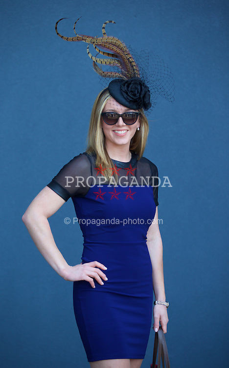 LIVERPOOL, ENGLAND - Thursday, April 9, 2015: Rosie Rickett, 21, from Ellesmere, wearing a Fine Brothers Hat, during Grand Opening Day on Day One of the Aintree Grand National Festival at Aintree Racecourse. (Pic by David Rawcliffe/Propaganda)