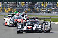 Romain Dumas (FRA) / Neel Jani (CHE) / Marc Lieb (DEU) #2 Porsche Team Porsche 919 Hybrid, during opening laps of the race as part of the WEC 6 Hours of Silverstone 2016 at Silverstone, Towcester, Northamptonshire, United Kingdom. April 17 2016. World Copyright Peter Taylor.