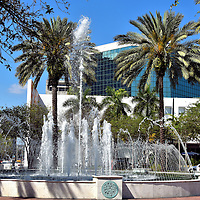 Water Fountain in Huizenga Plaza in Fort Lauderdale, Florida<br /> This beautiful Spanish water fountain is located in Huizenga Plaza between the NSU Museum of Art on Las Olas Boulevard and the Riverwalk.  Formerly called Bubier Park, it also features 18 acres of grass that is ideal for dog walking, flying a kite or just going for a stroll.  It is wonderful to have such a large green space in the center of downtown Fort Lauderdale.
