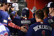 PHOENIX, AZ - JULY 04:  Derek Norris #3 of the San Diego Padres is congratulated by teammates after hitting a two run home run during the sixth inning against the Arizona Diamondbacks at Chase Field on July 4, 2016 in Phoenix, Arizona.  (Photo by Jennifer Stewart/Getty Images)