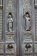 Ornate door details on Duomo or Florence Cathedral, Basilica of Saint Mary of the Flower, Florence, Italy
