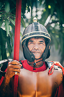 A portrait of a man dressed as a soldier during the Holy Week festival in Pampanga, the Philippines.