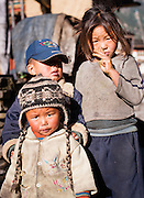 Girl and boy in the Annapurnas (Nepal)