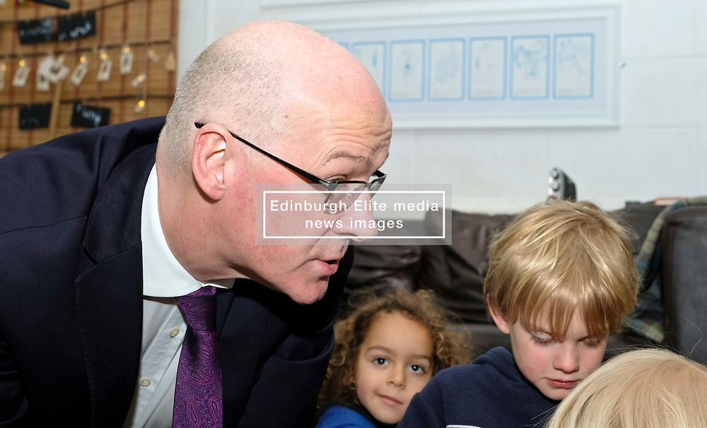 Pictured: Mr Swinney and Torrin Smith (aged four)<br /> Deputy First Minister John Swinney visited Cowgate Nursery in Edinburgh to meet children, staff and modern apprentices working in early years and childcare. Mr Swinney confirmed that a record number of early years apprenticeships are expected to start this year as part of the expansion of free nursery and childcare.  Mr Swinney toured the nursery and discussed the City of Edinburgh Council's plans to expand the early years and childcare workforce and met with modern apprentices as well as Jake Stefanovic, an ambassador from the Scottish Government's childcare recruitment campaign.<br /> <br /> <br /> Ger Harley | EEm 13 February 2018