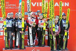 STROEM Anna Odine, BJOERSETH Thea Minyan, OPSETH Silje , LUNDBY Maren (NOR)  KRIZNAR Nika,  ROGELJ Spela, KOMAR Katra, KLINEC Ema  (SLO) IRASCHKO-STOLZ Daniela, KRAMER Marita, PINKELNIG Eva, HOELZL Chiara (AUT) celebrates after Day 1 of FIS Ski Jumping World Cup Ladies Ljubno 2020, on February 22th, 2020 in Ljubno ob Savinji, Ljubno ob Savinji, Slovenia. Photo by Matic Ritonja / Sportida