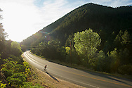 09 September 2013: A rider climbs Left Hand Canyon during the bicycle ride from the front range city of Boulder to the mountain town of Ward via Old Stage Road and Left Hand Canyon in Boulder, CO. ©Brett Wilhelm