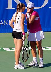 Anna Chakvetadze of Russia and Marina Erakovic of New Zealand at 2nd Round of Doubles at Banka Koper Slovenia Open WTA Tour tennis tournament, on July 22, 2010 in Portoroz / Portorose, Slovenia. (Photo by Vid Ponikvar / Sportida)