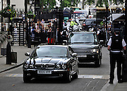 © licensed to London News Pictures. LONDON, UK.  21/06/11. The Queen arrives at Downing Street. The Queen and Duke of Edinburgh visit Number 10 Downing Street for Lunch with British Prime Minister, David Cameron and his wife Samantha. Visits to the street by the Queen are rare with the last time being in 2002 when Tony Blair was Prime Minister.. Mandatory Credit Stephen Simpson/LNP
