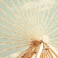 Ferris Wheel retro panorama picture at Chicago Navy Pier. Photo has nostalgic 1950s or 1960s tone. Panoramic ratio is 1:3. Image Copyright © Paul Velgos All Rights Reserved.