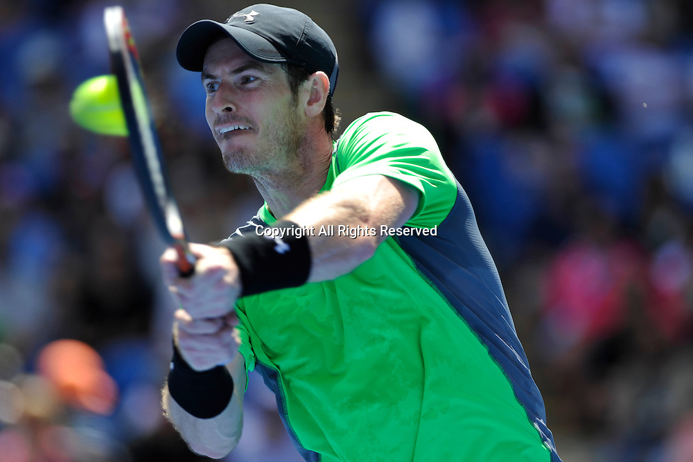 19.01.2015 Australian Open Tennis from Melbourne Park. Andy Murray of Great Britain returns a shot in his match against Yuki Bhambri of India on day one of the 2015 Australian Open at Melbourne Park, Melbourne, Australia.
