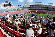 TAMPA, FL - JANUARY 27: The media swarms around the AFC Pittsburgh Steelers during Super Bowl XLIII Media Day at Raymond James Stadium on January 27, 2009 in Tampa, Florida. ©Paul Anthony Spinelli