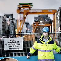 Nederland, Amsterdam , 26 november 2009..Joost Joustra belast met en verantwoordelijk voor de boorprojecten van de Noord-Zuidlijn hier gefotografeerd op het Rokin.