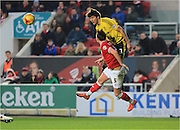George Friend, Luke Ayling during the Sky Bet Championship match between Bristol City and Middlesbrough at Ashton Gate, Bristol, England on 16 January 2016. Photo by Daniel Youngs.