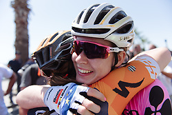 Anna van der Breggen celebrates the victory with Canuel after Stage 10 of the Giro Rosa - a 124 km road race, starting and finishing in Torre Del Greco on July 9, 2017, in Naples, Italy. (Photo by Sean Robinson/Velofocus.com)