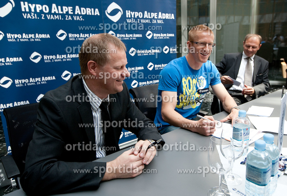 Tomaz Krajncic of Hypo Alpe Adria signed a sponsorship contract with Slovenian athlete Matic Osovnikar at press conference, on June 21, 2011, in Rotonda, Ljubljana, Slovenia. (Photo by Vid Ponikvar / Sportida)