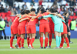 PARIS, June 14, 2019  Players of China encourage each other before the Group B match between China and South Africa at the 2019 FIFA Women's World Cup in Parc des Princes in Paris, France, June 13, 2019. (Credit Image: © Xinhua via ZUMA Wire)