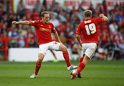 David Vaughan (L) of Nottingham Forest in action - Mandatory byline: Jack Phillips / JMP - 07966386802 - 11/08/15 - FOOTBALL - The City Ground - Nottingham, Nottinghamshire - Nottingham Forest v Walsall - Football League Cup Round 1