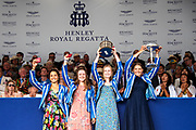 Henley on Thames, England, United Kingdom, 7th July 2019, Henley Royal Regatta, winners, The Diamond Jubilee Challenge Cup,  Latymer Upper School A  [© Peter SPURRIER/Intersport Image]<br /> <br /> 17:53:39 1919 - 2019, Royal Henley Peace Regatta Centenary,