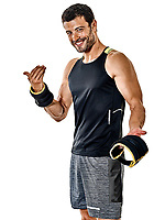 one caucasian fitness man exercising cardio boxing exercises in studio  isolated on white background