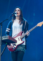 © Licensed to London News Pictures. 29/05/2014. Barcelona, Spain.   Warpaint performing live at  Primavera Sound Festival.  Warpaint is an American indie rock band composed of members Emily Kokal (vocals, guitar, synthesizer), <br /> Theresa Wayman (guitar, keyboards, vocals, drums), Jenny Lee Lindberg (bass, vocals)and <br /> Stella Mozgawa (drums).  Primavera Sound, or simply Primavera, is an annual music festival that takes place in Barcelona, Spain in late May/June within the Parc del Fòrum leisure site. Photo credit : Richard Isaac/LNP