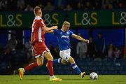 Portsmouth Forward, Curtis Main (14) with a shot at goal during the EFL Trophy match between Portsmouth and Crawley Town at Fratton Park, Portsmouth, England on 3 October 2017. Photo by Adam Rivers.
