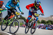 11 Boys #183 (MANOSCA MUNOZ Juan Jose) COL and 11 Boys #189 (MONTUSCLAT Raphael) FRA at the 2018 UCI BMX World Championships in Baku, Azerbaijan.