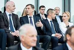 Gianni Infantino, president of FIFA, Miro Cerar, prime minister of Slovenia and Aleksander Ceferin, president of Football Association of Slovenia with his wife Barbara during Official opening of the Slovenian National football centre Brdo (Nacionalni nogometni center Brdo), on May 6, 2016, in Brdo pri Kranju, Slovenia. Photo by Vid Ponikvar / Sportida