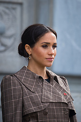 The Duchess of Sussex observes a minutes silence during a visit to view the newly unveiled UK war memorial and Pukeahu National War Memorial Park, in Wellington, on day one of the royal couple's tour of New Zealand.