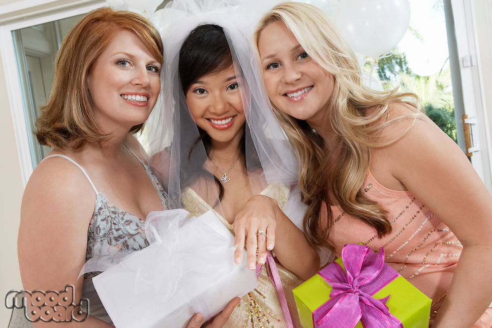 Bride and Friends Together at Bridal Shower