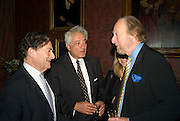 NIGEL LAWSON, PETER MAYER AND ED VICTOR, Book launch for AN APPEAL TO REASON, A Cool Look at Global Warming by Nigel Lawson. Hosted by NIGELLA LAWSON, DUCKWORTH PUBLISHERS and ED VICTOR LTD.<br />The Garrick Club. London. 16 April 2008.  *** Local Caption *** -DO NOT ARCHIVE-© Copyright Photograph by Dafydd Jones. 248 Clapham Rd. London SW9 0PZ. Tel 0207 820 0771. www.dafjones.com.