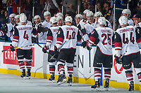 KELOWNA, BC - SEPTEMBER 29:  Niklas Hjalmarsson #4 of the Arizona Coyotes celebrates a second period goal against the Vancouver Canucks at Prospera Place on September 29, 2018 in Kelowna, Canada. (Photo by Marissa Baecker/NHLI via Getty Images)  *** Local Caption *** Niklas Hjalmarsson;Michael Grabner;Nick Cousins;Kevin Connauton;Brad Richardson