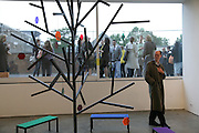 Richard Cork looking at work by Luca Frei, Imagine Action. Curated by Emily Pethick. Lisson Gallery. 4 July 2007.  -DO NOT ARCHIVE-© Copyright Photograph by Dafydd Jones. 248 Clapham Rd. London SW9 0PZ. Tel 0207 820 0771. www.dafjones.com.