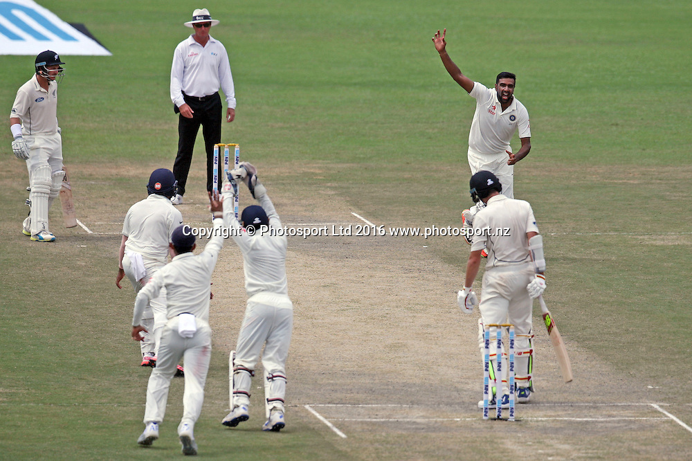 Ravichandran Ashwin of India celebrates the wicket of  Mitchell Santner of New Zealand during the 3rd day of the first test match India against New Zealand in Kanpur, India, Saturday, Sept. 24, 2016.
